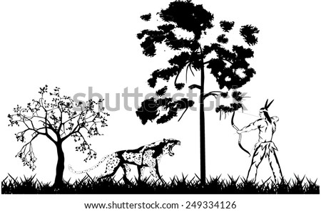 Silhouettes of Indian hunter and big jaguar in forest - stock vector