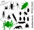 Silhouettes of insects - stock vector