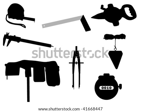Silhouettes of Instruments for Measuring - stock vector