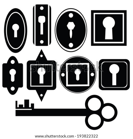 silhouettes of key and keyholes on a white background - stock vector