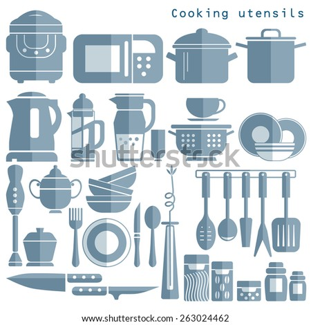 Silhouettes of kitchen ware and utensils - stock vector