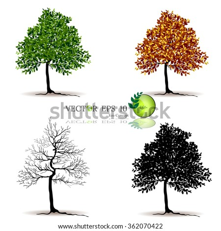 silhouettes of leaves,silhouettes of trees,tree branch - stock vector