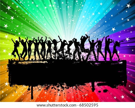 Silhouettes of lots of people dancing on a grunge starburst background - stock vector