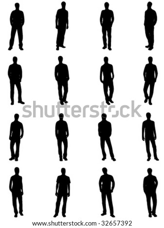 silhouettes of man - stock vector