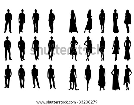 silhouettes of man and woman - stock vector