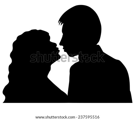 Silhouettes of man and woman who are going to kiss. isolated on white background. Vector illustration