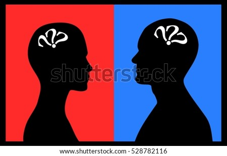 Silhouettes of man and woman with question marks on red and blue background
