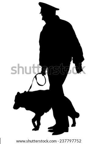 Silhouettes of man with a dog on a leash on a white background - stock vector