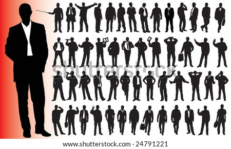 Silhouettes of many business people - stock vector
