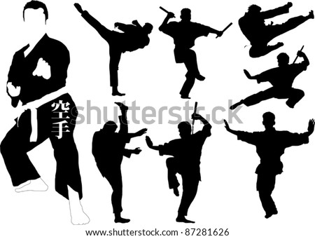 Silhouettes of martial arts fighters. Vector illustration; - stock vector