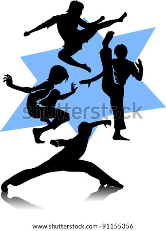 Silhouettes of martial arts fighters. Vector illustration - stock vector