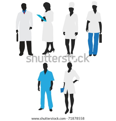 Silhouettes of medical staff.Vector - stock vector