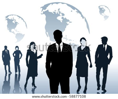 Silhouettes of men and women on a blue background - stock vector