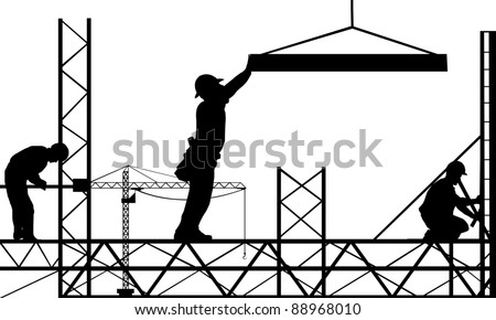 silhouettes of men working