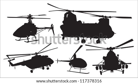 silhouettes of military helicopters - stock vector