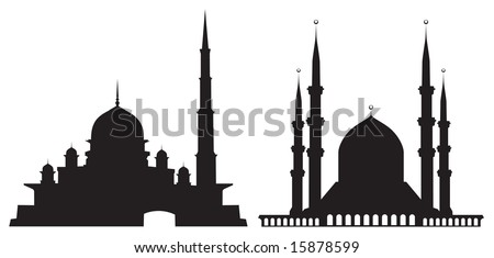 Silhouettes of mosques isolated on white - stock vector