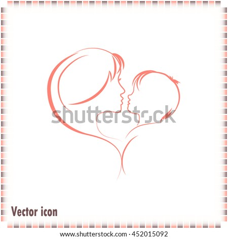 Silhouettes of mother and the child. - stock vector