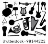 Silhouettes of musical instruments - stock vector