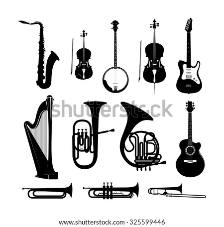 Silhouettes of Musical Instruments in black and white isolated, Vector Illustrations - stock vector