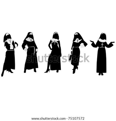 Silhouettes of nuns.Vector - stock vector