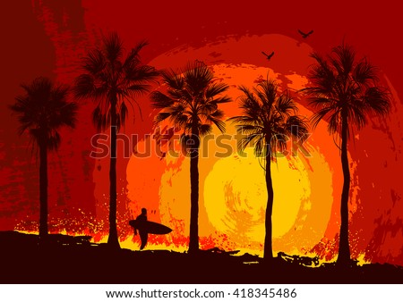 Silhouettes of palm trees and a surfer. Tropical sunset.