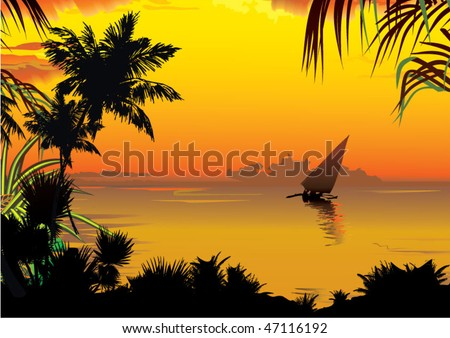 Silhouettes of palms on a ocean background. Vector art-illustration. - stock vector