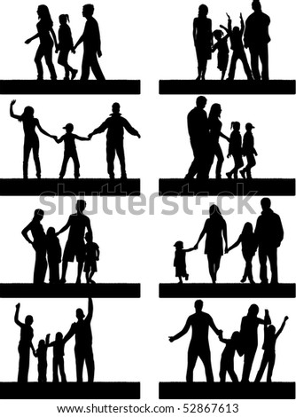 Silhouettes Of Parents With Children - stock vector