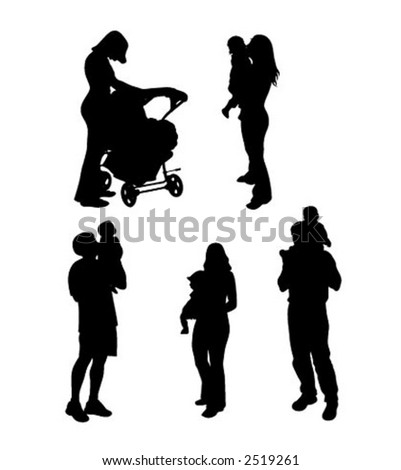 Silhouettes of parents with children (vector)