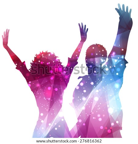 Silhouettes of party people on an abstract background - stock vector