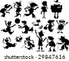 Silhouettes of people and animals in various situations - stock vector