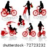 Silhouettes of people and children on bicycles - stock photo