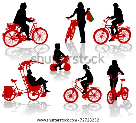 Silhouettes of people and children on bicycles