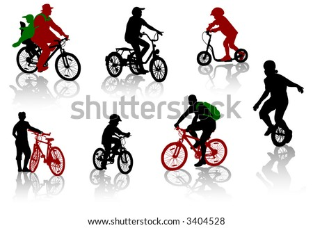 Silhouettes of people and children on bicycles and a scooter - stock vector