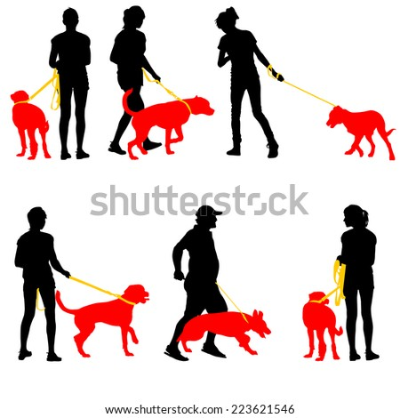 Silhouettes of people and dogs. Vector illustration. - stock vector