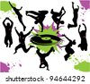 Silhouettes of people dancing and jumping - stock vector