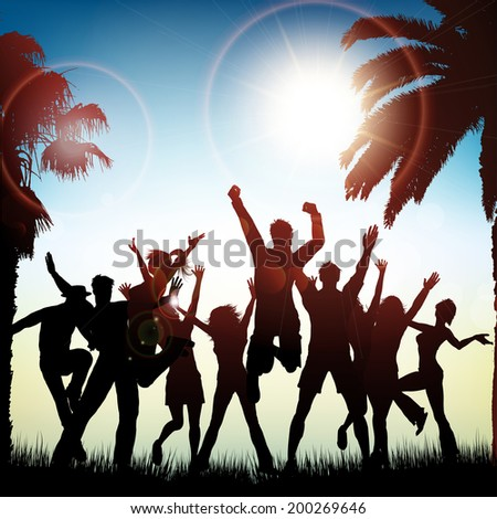 Silhouettes of people dancing on a tropical background - stock vector