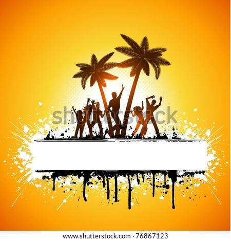 Silhouettes of people dancing on a tropical grunge palm tree background - stock vector