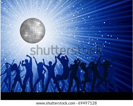 Silhouettes of people dancing on mirror ball background - stock vector