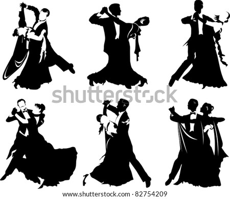 silhouettes of people dancing the waltz (vector illustration); - stock vector