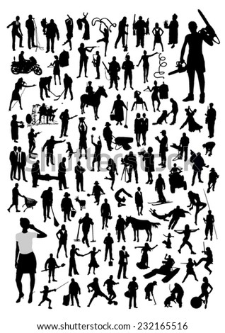 Silhouettes of people - different professions