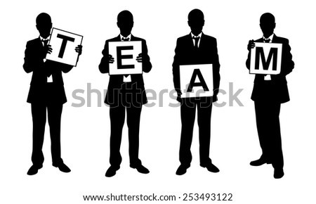 silhouettes of people holding signs - stock vector