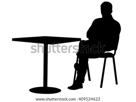 Silhouettes of people in cafe on white background - stock vector