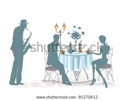 Silhouettes of people in cafe with a musician - stock vector