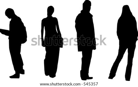 Silhouettes of people in casual poses - stock vector
