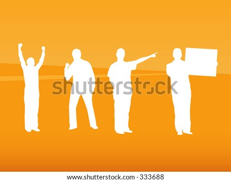 Silhouettes of people in poses - stock vector