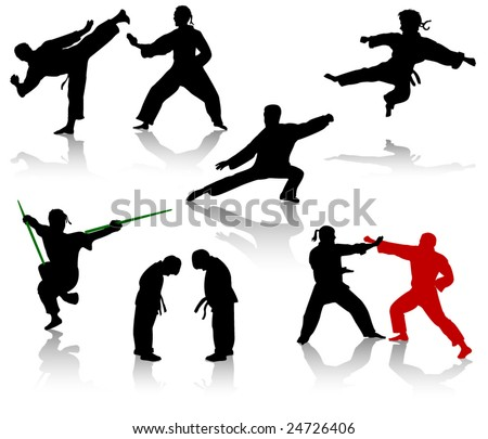 Silhouettes of people in positions of karate and taekwondo - stock vector