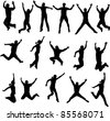 silhouettes of people jumping - stock vector