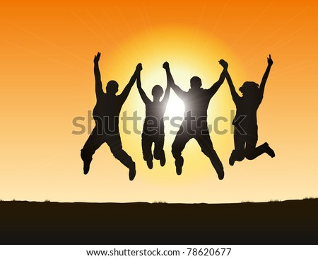 silhouettes of people jumping on the hill at sunset - stock vector