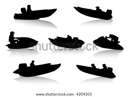 Silhouettes of people on motor boats - stock vector