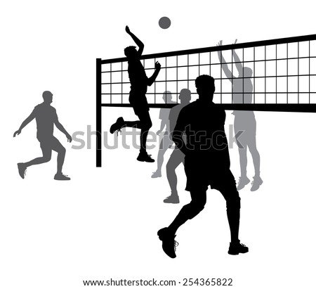 silhouettes of people playing volleyball on white background vector - stock vector